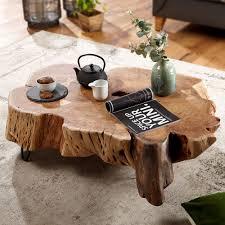 couchtisch nakur 104x30x69 cm akazie vollholz design wohnzimmertisch tisch stubentisch baumscheibe sofatisch holztisch wohnzimmer designer