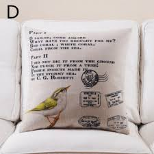Birds And Letters Printed Decorative Throw Pillows Rustic Style