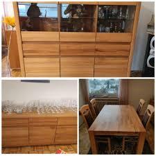 wohn esszimmer highboard sideboard tisch 4 stühle kernbuche
