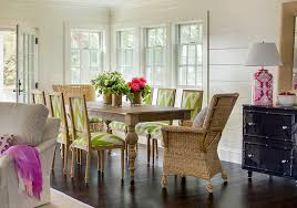 Contemporary Cottage Dining Room With Blond Table And Green Chevron Chairs