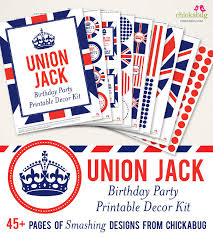 Union Jack Birthday Party Printable Decor Kit Digital File