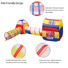 Extra Large Kid Tent ICorer 4pc Pop Up Children Play W 2 Crawl Tunnels
