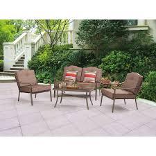 Outdoor Patio Chair Cushions Walmart by Mainstays Woodland Hills 4 Piece Chat Set Walmart Com