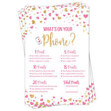 Whats On Your Phone Party Game Bridal Shower Baby Shower Pink And Gold Heart Confetti