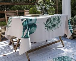Round Patio Tablecloth With Umbrella Hole by Outdoor Tablecloth Etsy