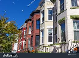 100 Row Houses Architecture Urban Residential US Capital Fall Stock Photo