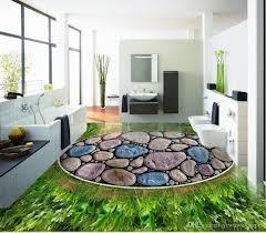 großhandel benutzerdefinierte 3d wand boden tapete grünes gras runde diamant kiesel wasserdicht für badezimmer 3d boden wandaufkleber vinyl küche wand