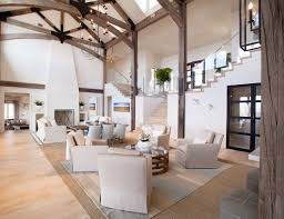 Soaring Ceilings Accented With Wood Beams Add Interest