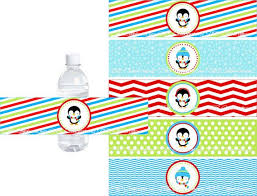 Penguin Water Bottle Labels Winter Birthday Party Wrap INSTANT DOWNLOAD Boys