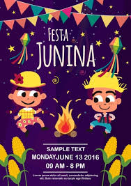 Event Poster Cute Kids Flame Ribbon Stars Decor