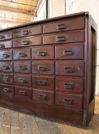 Vintage Industrial Wood Hardware Multi Drawer Storage Apothecary