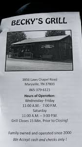 The Shed Maryville Tn Menu by Becky U0027s Grocery U0026 Grill Grocery 3856 Laws Chapel Rd Maryville