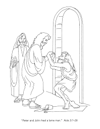 Peter And John Heal A Lame Man Coloring Page