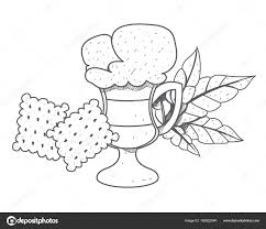 Iced Coffee In The Cup With Crackers Outline Drawing Vector By Filkusto