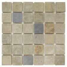 Jeffrey Court Mosaic Tile by Jeffrey Court Sequoia 12 In X 12 In X 8 Mm Slate Mosaic Wall