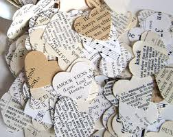 Romantic Heart Confetti Vintage Wedding Decor Paper Hearts Old Book Pages