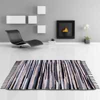 flickenteppich handgewebter teppich aus baumwolle stylischer und strapazierfähiger fleckerlteppich 140 x 200cm schwarz weiß grau