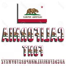 California Republic Flag Vector Photostock Usa State Font Alphabet Stylized By
