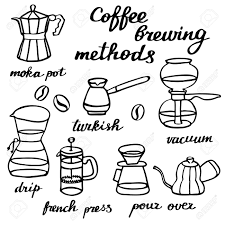 Coffee Brewing Methods Set Hand Drawn Cartoon Makers Doodle Drawing Vector