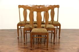 SOLD - Set Of Six Oak 1900 Antique Dining Chairs, New Upholstery ... Tiger Oak Fniture Antique 1900 S Tiger Oak Round Pedestal With Ding Chairs French Gothic Set 6 Wood Leather 4 Victorian Pressed Spindle Back Circa Room 1900s For Sale At Pamono Antique Ding Chairs Of Eight Chippendale Style Mahogany 10 Arts Crafts Seats C1900 Glagow Antiques Atlas Edwardian Queen Anne Revival Table 8 Early Sets 001940s Extendable With Ball Claw Feet Idenfication Guide