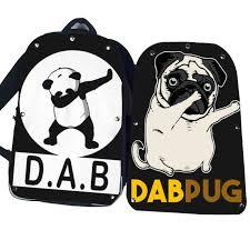 Funny Dabbing Unicorn Dog Skull Backpack Pug Teenagers Boys Dab Panda Kids Children School Book Bags