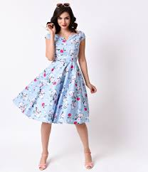 hell bunny 1950s style pale blue floral cap sleeve belinda swing