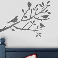 Birds In Tree Stencil On Branch Bird Wall Painting