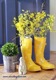 Cute Yellow Boots With Forsythia To Welcome Spring From OnSuttonPlace