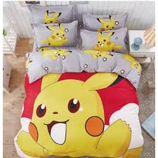 6 in 1 Set Quality 800TC Pokemon Pikachu Bedding Bed Sheet Queen
