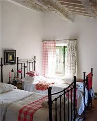 Rustic Country Guest Bedroom Interiors Gingham Beams White Walls Iron Bed