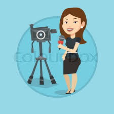Reporter With Microphone Standing On The Background Camera TV Presenting News Transmission Vector Flat Design