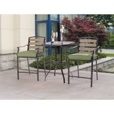 3 Piece Bar Height Patio Bistro Set by Mainstays Laurel Grove 3pc High Dining Set Walmart Com