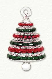 Small Red And Green Striped Christmas Tree Egyptian Glass Ornament Decoration