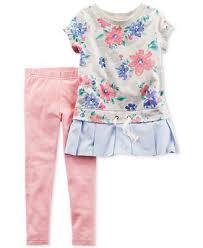 Carters 2 Pc Floral Print Peplum Tunic Leggings Set Baby Girls