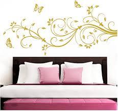 grandora wandtattoo blumenranken schmetterlinge blumen i gold bxh 90 x 39 cm i schlafzimmer liebe flur wohnzimmer modern aufkleber wandaufkleber