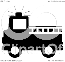 100 Black Fire Truck RoyaltyFree RF Clipart Illustration Of A Silhouetted