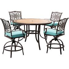Hanover Monaco 5-Piece Aluminum Outdoor High Dining Set With Round Tile-Top  Table And Swivel Chairs With Blue Cushions Kitchen Design Counter Height Ding Room Table Tall High Hightop Table With 4 Leather Chairs Top Hanover Monaco 7piece Alinum Outdoor Set Round Tiletop And Contoured Sling Swivel Chairs High Kitchen Set Replacement Scenic Top Wning Amazing For Sets Marble Square And Glass Small Pub Style Island Home Design Ideas Black Cocktail Low Tables Astonishing Rooms Modern Wood Dark 2