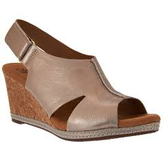 clarks nubuck wedge sandals with backstrap helio float page 1