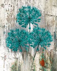 Teal Brown Rustic Distressed Flower Wall Art Home Decor Matted Picture