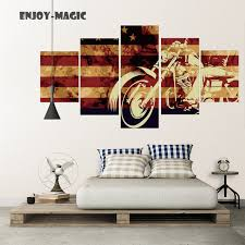 Home Decor Canvas Flag USA Motorcycle Harley Davidson Decoration Wall Art Modern 5 Piece Oil