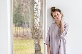 washed linen kimono tunic in ashes of rose oversize linen