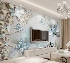 beibehang custom tapete schöne 3d mittelmeer blumen schmetterling wohnzimmer schlafzimmer sofa tv wand 3d tapete