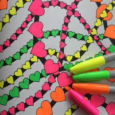 Combine Neon And Black Markers Adult Coloring Book Tips