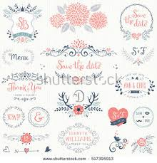 Hand Drawn Rustic Wedding Collection With Typographic Design Elements Ornate Motives Branches Wreaths