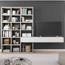 wohnregal mit tv board in beige weiß aroha