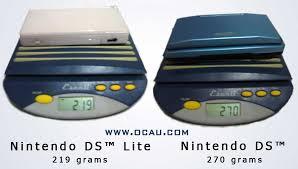 DS Lite weighed next to original DS