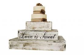 Distressed White Rustic Wedding Country Barn Farmhouse Cake Cupcake Stand 3 Tier Wooden 2358384