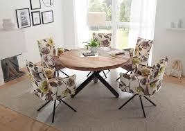 esszimmer essgruppe mit 5 stühlen esstisch rund ø 130 cm komplettset mango altrosa flower