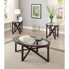 Exciting Coaster Furniture Piece Glass Top Table Set Brown ...