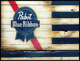 Pabst Blue Ribbon Beer Wooden Sign PBR Flag Rustic American